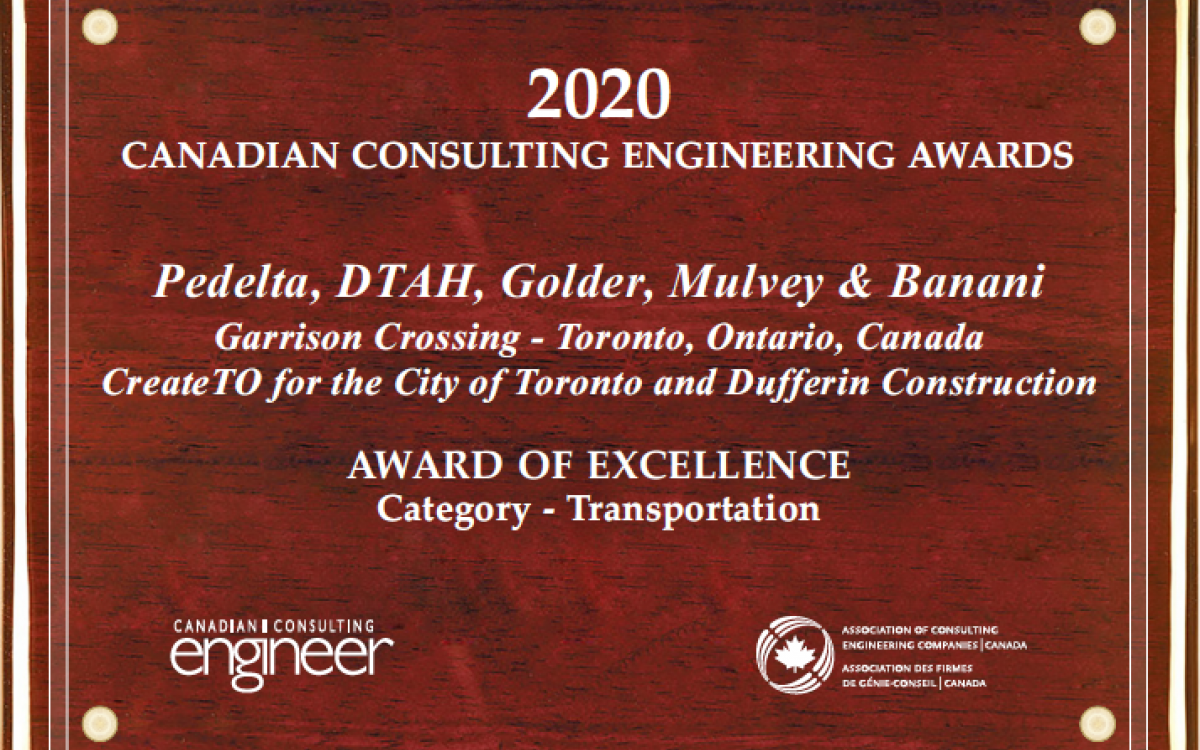 Garrison Crossing - Fort York Pedestrian and Cycle Bridge received a CCE Award of Excellence