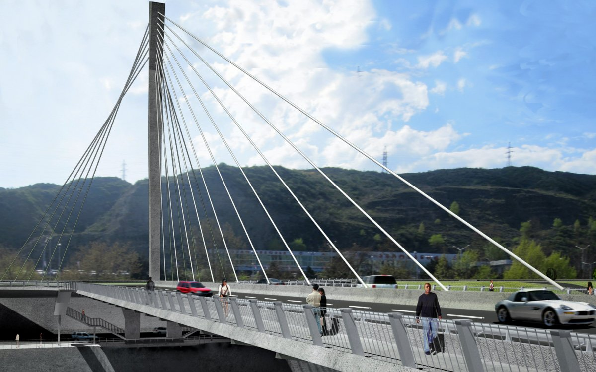 Cable-Stayed Bridge over the Mtkvari River